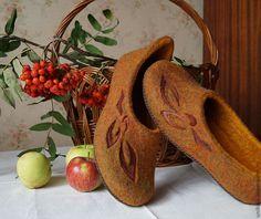 """Валяные тапочки """"Осенний шарм"""" - валяные тапочки,тапочки домашние,Тапочки ручной работы"""