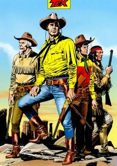 Tex, Kit Carson, Kit Willer and Tiger Jack - Claudio Villa Western Comics, Western Art, Western Cowboy, Cowboy Theme, Cowboy Art, Claudia Mori, Caricature, Comic Art, Comic Books