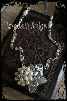 Crystal & Pearls Necklace by HaveFaithDesigns on Etsy, $48.00