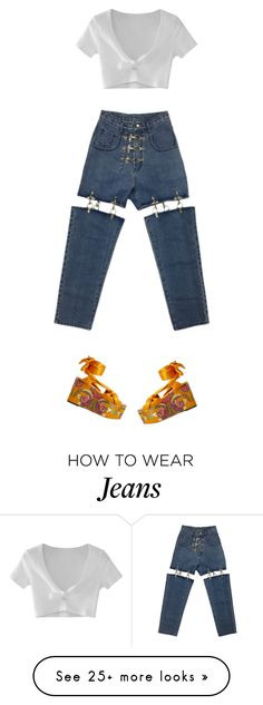 """""""I love these jeans"""" by giannamardakis on Polyvore featuring WithChic and MANGO"""