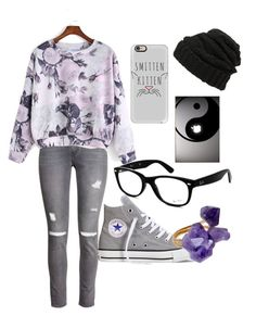 """""""casual autumm school outfit"""" by naimah-nh ❤ liked on Polyvore featuring Leith, H&M, Converse, Casetify, Helix & Felix and Ray-Ban"""