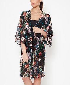 Look what I found on #zulily! Black Floral Open Cardigan by Tantra #zulilyfinds