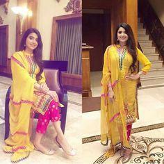 Nimrat khaira Designer Punjabi Suits, Indian Designer Wear, Nimrat Khaira Suits, Gota Patti Suits, Haldi Function, Function Dresses, Embroidery Suits Punjabi, Sleeves Designs For Dresses, Pakistani Outfits