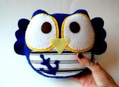Thursday Handmade Love Week 67 Theme: Sailor Includes links to #free #crochet patterns  Sailor Owl Eco Friendly Plush Stuffed Toy via Etsy by SwanSong1315