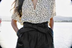 polka dots and leather shorts.
