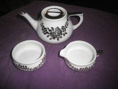 RS Tillowitz Silesia Tea Pot Sugar & Creamer Set Art Deco Hand Painted Platinum #RSPrussia