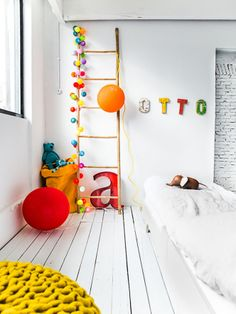 happy lights and a teen bed from Rafa-kids Room Deco, Happy Lights, Deco Kids, The Design Files, Kid Spaces, Home Staging, Kids Decor, Boy Room, Child Room