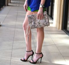 Strappy heeled sandal, MAC clutch, & colorblocked pieces: signs of a great outfit. @Merritt Beck
