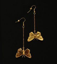 Ohrringe echte vergoldete Falter; Earrings real butterflies gold plated von GALVANITY auf Etsy