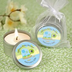 Blue Baby Turtle - Candle Tin Personalized Baby Shower Favors  $1.99