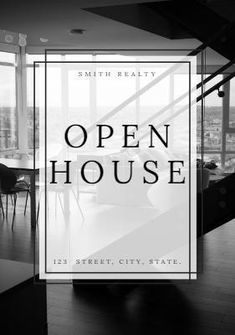 A dark background image of a home with a text box displaying Smith Realty Open House.