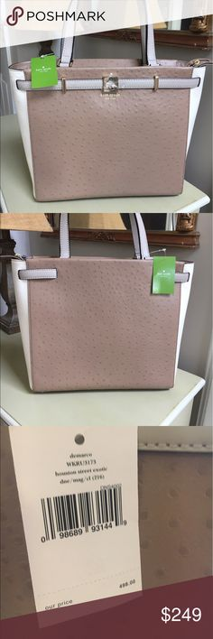 NWT Kate Spade Demarco Houston Exotic Handbag Brand new cream and beige leather handbag. kate spade Bags Shoulder Bags