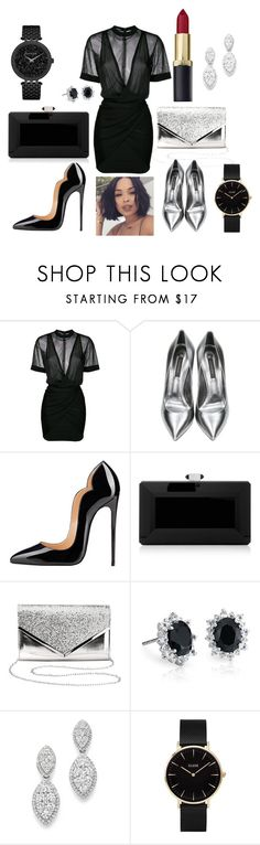 """""""Love for Black!!!"""" by lineocarol on Polyvore featuring Balmain, Casadei, Judith Leiber, Charlotte Russe, Blue Nile, Bloomingdale's, CLUSE and Caravelle by Bulova"""