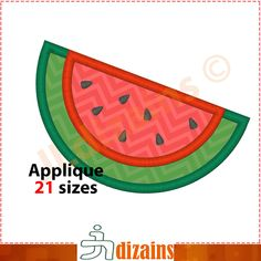 Watermelon Applique Design  Machine Embroidery Design