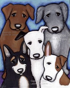 """""""Marvelous Mixed Breeds!"""" Original 8x10 inch acrylic Cute Puppy Dog Art Painting By Florida artist Lauren M. Davis SOLD and Painted in 2009"""