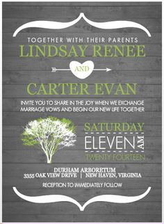 """invitations - like the middle names and saying """"as we begin our lives together"""""""