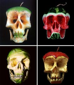 "Fruit Skull Sculpture, I call these ""memento mori"" Growth And Decay, Fruit Picture, Incredible Edibles, Fruit Art, Skull And Bones, Memento Mori, Edible Art, Skull Art, Creative Food"