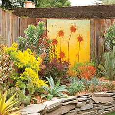 12 fresh ideas from The New Sunset Western Garden Book: Pair art with plants - 12 ideas from The New Sunset Western Garden Book - Sunset Mobile Dig Gardens, Unique Gardens, Amazing Gardens, Outdoor Gardens, Fence Art, Drought Tolerant Plants, Succulents Garden, Garden Plants, Dream Garden