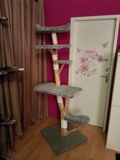 Selbstgebauter Kratzbaum Echtholz Einzelstück