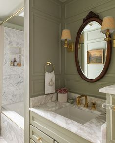 If you thought part one of our One Room Challenge reveals were good, get ready! We're keeping the gorgeous spaces coming in our part two blog post revealing the next five spaces. This group grounds their design with classic features, while still adding elements of their personality to make it their own! Honey Oak Cabinets, Diy Bathroom Remodel, Bathroom Ideas, The Tile Shop, Shower Niche, Glam Room, Diy Molding, Built In Shelves, Interior Styling