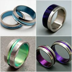 "Colorful bands made from space age Titanium are another modern option.and could double as a clever ""something blue. Unusual Wedding Rings, Wedding Rings For Women, Wedding Bands, Rings For Men, Wedding Things, Wedding Stuff, Dream Wedding, Titanium Wedding Rings, Titanium Rings"