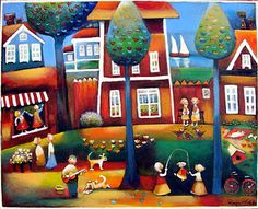 Gina gallery - Troubadour in the Square. GINA Gallery of International Naïve Art deals in the procurement and sale of naïve art from all over the world Naive Art, Funny Art, Gnomes, Martini, Folk Art, Art Prints, Canvas, Gallery, Artwork