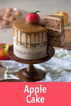 Caramel Apple Cake with caramel ganache. The apple is actually a cake! Its all so easy to make. Thanksgiving Desserts Easy, Great Desserts, Autumn Desserts, Thanksgiving 2020, Potluck Desserts, Holiday Desserts, Salted Caramel Cake, Caramel Apples, Caramel Ganache