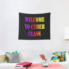 """""""Welcome to Cyber school class 2020"""" Tapestry #redbubbleartists Gift For Music Lover, Music Lovers, Tapestry Design, Wall Tapestry, Lil Peep Merch, Techno Music, Thing 1, Dorm Rooms"""