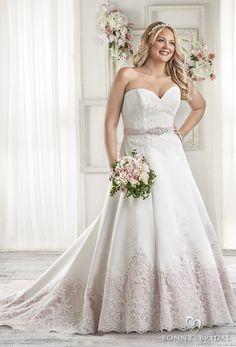 bonny bridal 2017 strapless sweetheart neckline heavily embellished bodice embellished hem pink color plus size a  line wedding dress corset back sweep train (1604) mv