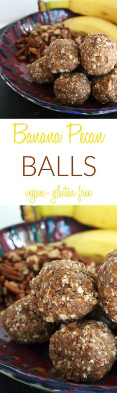 Banana Pecan Balls (raw, vegan, gluten free) - These no-bake sweet treats are the perfect portable snack. Made with dehydrated bananas, dates, and nuts.