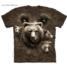 Bear Eyes T-Shirt by The Mountain. Forest Nature Animal Big Face Sizes NEW in Clothing, Shoes & Accessories, Men's Clothing, T-Shirts Steampunk, North American Animals, Biker, Wild Eyes, Bear Face, Online Shops, Bear T Shirt, Tee Shirt, Fantasy