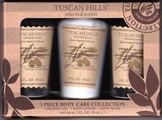 Tuscan Hills 3 Piece Vanilla Almond Body Care Collection Gift Set Scent Travel #TuscanHills
