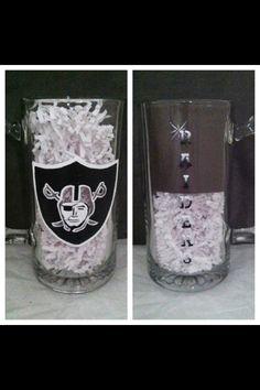 Hand painted Raiders beer mug. By Samantha Blair