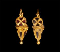 Parthian Gold and Garnet Earrings (c. 199 BC to c. 100 Persia)