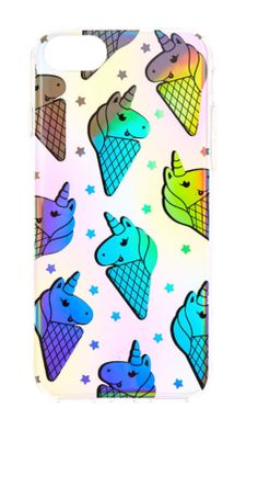 Translucent pastels, holographic uni-cones and stars create a truly magical phone case!