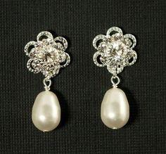 Wedding Earrings -- Studs, Wedding Jewelry, Posts, Rhinestone Pearl Wedding Earrings, Vintage Bridal Earrings, Flower - ROMANCE IN BLOOM. $34.00, via Etsy.