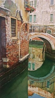 Watercolor City, Watercolor Landscape, Watercolor And Ink, Watercolor Paintings, Watercolours, Watercolor Techniques, Painting Techniques, Venice Painting, Watercolor Architecture