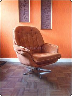 Retro Vintage 70s 80s Danish Swivel Lounge Armchair Chair