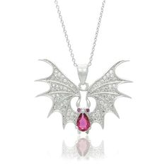 """Sterling Silver Cubic Zirconia Micro Pave Gothic Bat Animal Pendant Necklace, 18"""" Fappac http://www.amazon.com/dp/B00KD1YAIY/ref=cm_sw_r_pi_dp_bOo9vb1NSAZPY"""