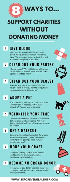 Think that donating money is the only way you can help a charity? Here's 8 ways you can support charities without donating money. Charity Shop, Donate To Charity, Charity Ideas, Family Fun Day, Blood Donation, Non Profit, How To Raise Money, Helping Others, Helping People