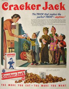 Image detail for -Original vintage Halloween themed magazine ad for Cracker Jacks.
