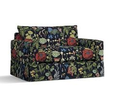 PB Comfort Square Arm Slipcovered Twin Armchair Sleeper, Knife Edge Polyester Wrapped Cushions, Poppy Botanical Black