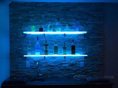 Use our led back bar shelves in your restaurant, bar or lounge to boost the visibility of your highest margin liquor. Our shelves are also eye-catching which makes them great for display products of all sorts! Glass Bar Shelves, Floating Glass Shelves, Display Shelves, Wall Shelves, Shelf, Contemporary Shelving, Home Bar Designs, Back Bar, Man Cave Home Bar