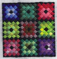 Scrap Diamonds, project from Stash Busters Needlepoint Club. Image & design copyright Napa Needlepoint.