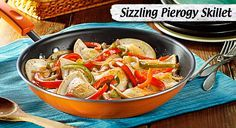 Peppers & onions sautéed with mouthwatering pierogies, for a simply delicious dish.