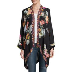 Johnny Was Jazzy Kimono-Style Printed Jacket Plus Size ($300) ❤ liked on Polyvore featuring plus size women's fashion, plus size clothing, plus size outerwear, plus size jackets, black pattern, petite jackets, long sleeve kimono, long kimono, open front jacket and floral kimono