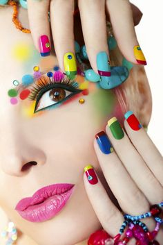 Colorful French manicure and makeup. – Stock Photo , Colorful French manicure and makeup. Color French Manicure, Tammy Taylor Nails, Nail Logo, Nail Salon Design, Easter Nail Art, Nail Designer, Nagellack Trends, Manicure E Pedicure, Uv Gel Nails