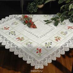 """Скатерть """"Schaefer"""", квадратная, цвет: белый, 85 смx85 см. 07152-100 - купить по выгодной цене с доставкой. Кухня от Schaefer в интернет-магазине OZON.ru"""