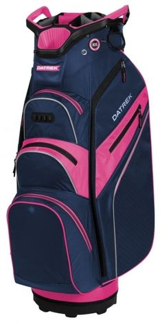 Lori's Golf Shoppe offers a great selection of women's golf bags to compliment your game! Check out our large selection of golf bags for sale just like this Navy/Pink/Silver Datrek Ladies/Men's Lite Rider Pro Golf Cart Bag!