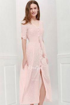 Bohemian V Neck 3/4 Sleeve Printed Women's Maxi Dress